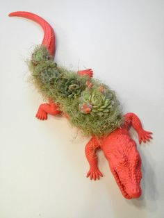 Neon Pink Crocodile Planter  Modern Art Centerpiece by CoastalMoss, $65.00