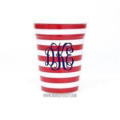 Monogrammed American Flag Rednek Party Cup