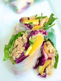 Fresh Rolls with Pulled Pork, Mango and Avocado - The Lemon Bowl #healthy #glutenfree #appetizer