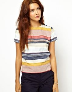 Image 1 ofSessun Shell Top in Tapestry Stripe