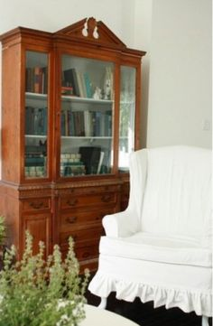 Books in china cabinet