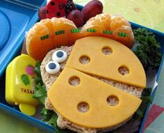 Ham and cheese sandwich and transformed it into this lovely little ladybug by simply using a cookie cutter, cheddar cheese on top and buggy icing eyes. Also included on this lunch menu are mandarin oranges and seedless grapes.