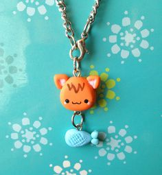 Aicing Animals - Kitty and Fish Necklace  - polymer clay, chain, charms. $5.50, via Etsy.