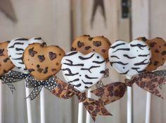 Leopard and Zebra Print Heart Shaped Cake Pops. #cakepops #birthday #party #ideas #inspiration #leopard #zebra #print #theme #heart