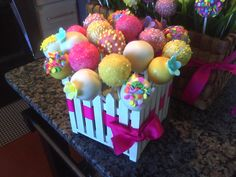 Springtime cake pop centerpiece by my cousin Toni Polizzi and owner of Cake|Break!