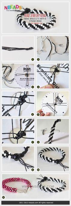 bead jewelry ideas - make bracelets with 8 strand braid