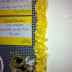 For cheap and cute border cut strips of bulletin board paper and just scrunch and staple!