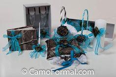 turquoise & camo wedding wedding dresses camo garters camo wedding shoes mossy oak dresses wedding accessories guest books