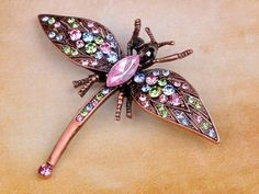 Dragonfly Copper and Crystal Vintage Style Brooch Pin Free Shipping $12.99