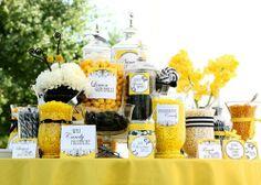 Black and yellow dessert bar #blackwedding #yellowwedding #weddingdessert #desserttable #dessertbar