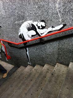 #streetart #ballet #barre wall art, ballet dancers, urban art, graffiti, street art, ballet barre, stretching, streetart, art walls