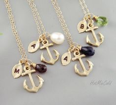 FOUR Initial Anchor Necklace, Monogram Birthstone Necklace, Monogram Leaf charm Jewelry, Marine Wedding Theme, Nautical bridesmaid gifts. $125.00, via Etsy.