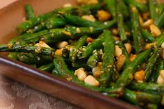 Stir fried green beans with lemon, parmesan, and pine nuts