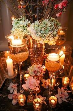 Glimmery gold and pink wedding reception decor (Photo by Nadia D. Photography)