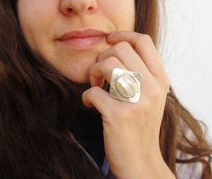 Mother of Pearl Shell Ring  Seashell with Silver by StaroftheEast, $37.00