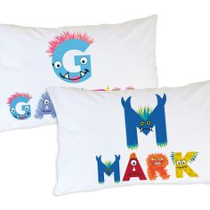 Did you know #monsters have nightmares about #kids being under their beds? Monsters are also especially afraid of kids who sleep on personalized monster pillowcases. | Dream on Beastly Monster Name Pillowcase