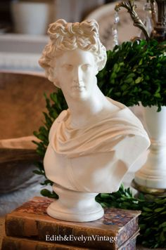 Vintage Apollo Bust Roman White Chalkware by edithandevelyn on Etsy