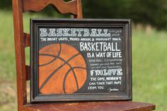 """Basketball Chalkboard   """"Basketball isn't just about the bright lights, packed arenas and highlight reels.  Basketball is a way of life.  Basketball is about a relationship between you and the ball, you and your teammates.  If you love the game, nobody can take that away from you.""""  -Michael Jordan www.facebook.com/chalkonthewall"""