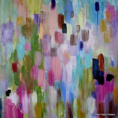 """Original Large Abstract Color Study """"Convergence"""" by Carolyn Shultz/BluePoppyDesign SOLD"""