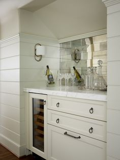 Bar, Paneling, Hardware, Antique Mirror Splash, Sconce