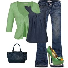 Green and blue, too cute. But flats instead