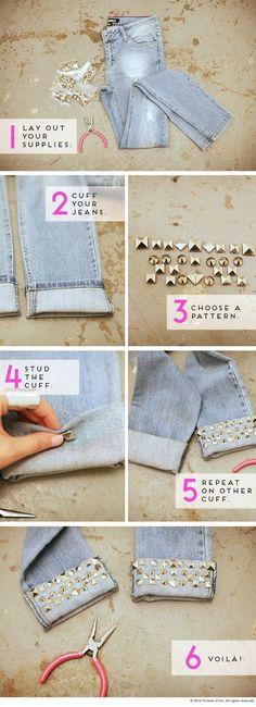 diy ideas, diy stud, craft, fashion ideas, cloth, diy fashion, cuff, stud jean, old jeans