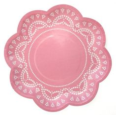 party plates, light pink, pink scallop, paper goods, doilies