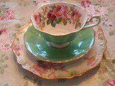 Royal Albert green teacup w/ pink roses by eg2006, via Flickr