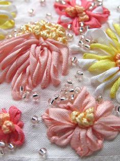 Silk ribbon embroidery!