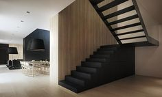 architects, stairs, black walls, metals, lamp, architecture, modern houses, wood walls