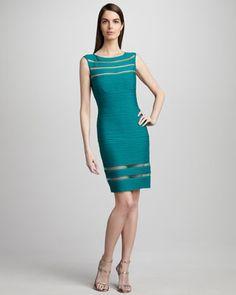 Sleeveless Illusion Sheath Dress - Neiman Marcus $295
