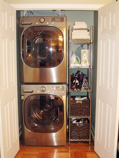 I would need a step stool for the buttons on top, but this is still a great space saver. washer and dryer in the closet