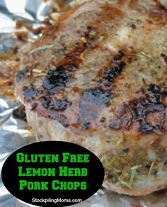 Gluten Free Lemon Herb Pork Chops - So tasty this is a moist and delicious dinner recipe.