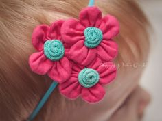 Pretty Pink and Turquoise Flower Trio - Easter or Spring Headband - Photo Prop - Newborn or Baby Girl Summer Hair Bow. $5.99, via Etsy.