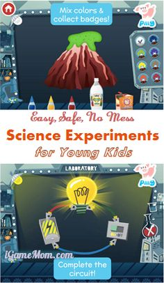 Science experiments for young kids, easy, safe and no mess #kidsapps #ScienceApps