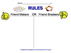 Friendship Rules Free Printable Worksheet. Find more anti-bullying supports at my store!