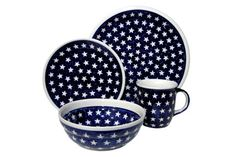 Blue Rose Polish Pottery: Stars 4 Piece Dinner Set