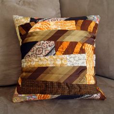 It's a pillow out of a man's neckties. #FathersDay #textilerecycling