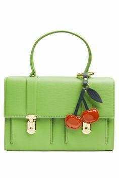 Edith & Ella - 60s Sweet Green Cherry handbag