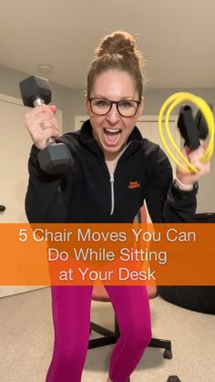 Grab a light to medium set of dumbbells or a resistance band and take a seat. This simple chair exercise is a perfect way to stay active while sitting at your desk.