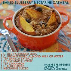Baked Blueberry Nectarine Oatmeal #oatmeal #vegan #plantstrong #engine2diet blueberri nectarin