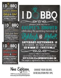 I Do BBQ Couples Shower, Barbeque Bridal Shower. Custom Printable PDF/JPG invitation. I design, you print. Made to Match add ons available. on Etsy, $12.00