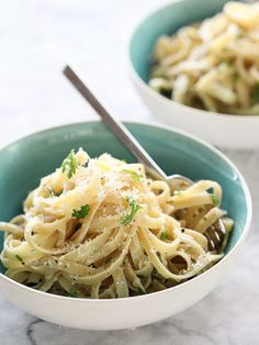 Cheesy Butter Parmesan Noodles is a quick easy dinner #recipe on foodiecrush.com