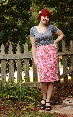 Jamie tucks her graphic tee into a printed pencil skirt for the perfect blend of casual and cool.