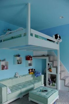Cute Idea for a kid's room. Now there's room for a desk and a sitting area.