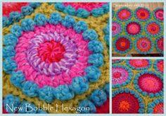 squar, blanket, rug, crochet afghans, color, bobbl hexagon, suz place, hexagon pattern, crochet patterns