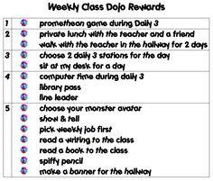 Tying class dojo points to real-world rewards.