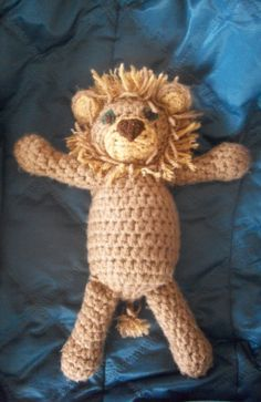 Lion Doll handmade - Crocheted Cowardly Lion doll - Wizard of Oz - Perfect Easter Gift - Collectors item