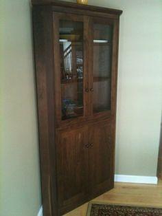 New England Shaker Corner Cabinet in Walnut Wood.