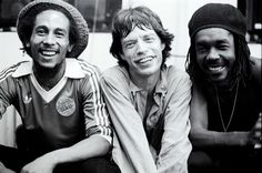 Bob Marley, Mick Jagger and Peter Tosh.